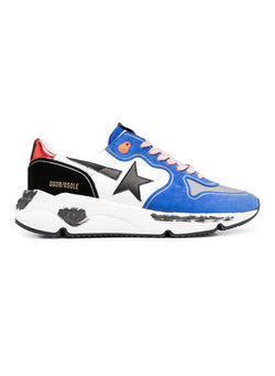 golden goose running sole leather upper and star suede spur trainer white bluette silver black red ss 2021