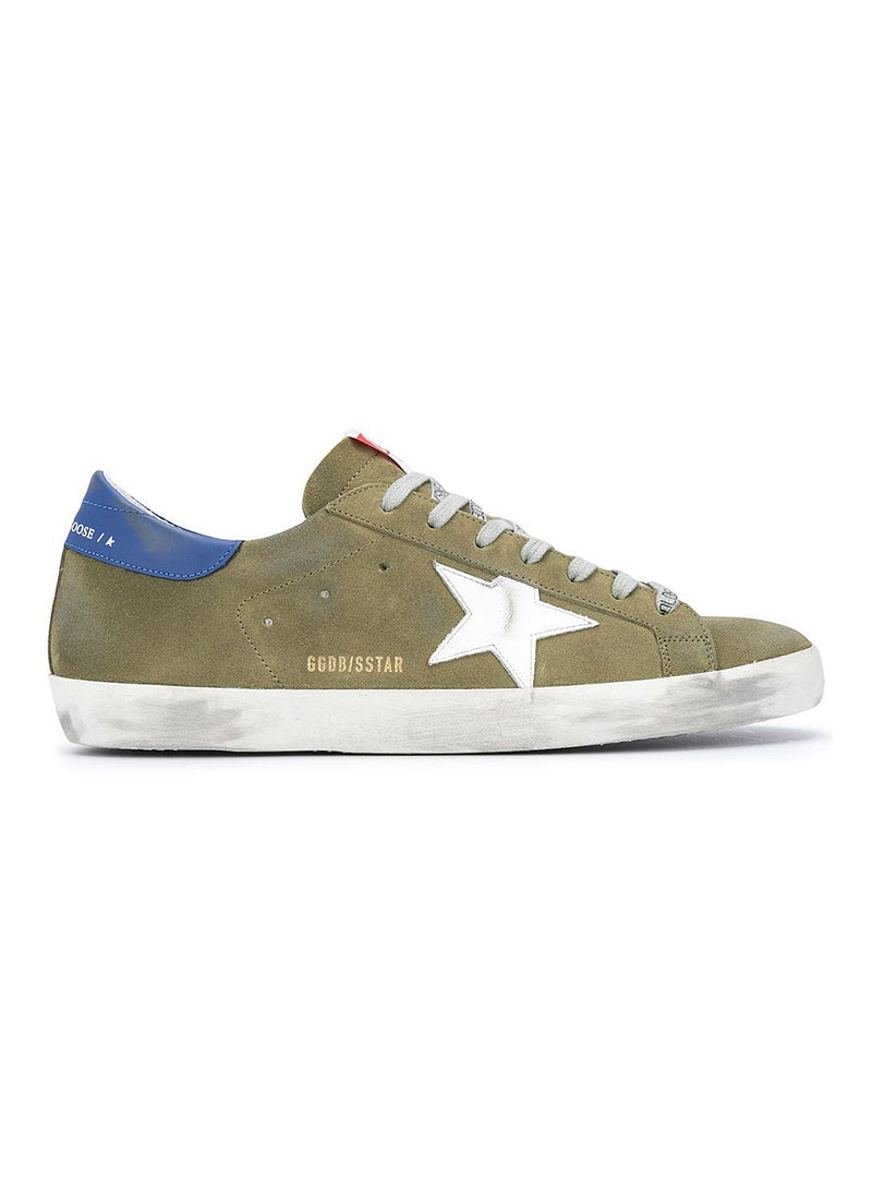 golden goose superstar leather upper star and heel wood green white blue aw 2020