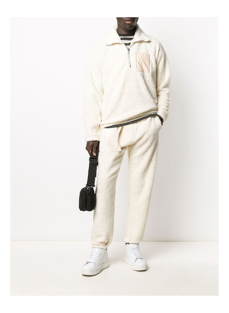 ¼ Zip Shaggy Fleece Sweat - Winter White