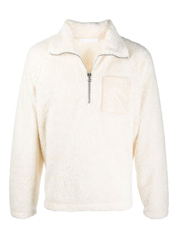 helmut lang zip shaggy fleece sweat winter white aw 2020