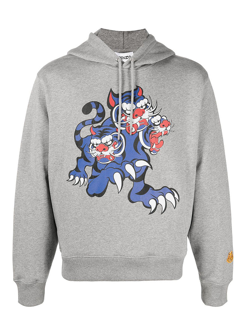 kenzo 3 headed tiger seasonal logo hoodie grey ss 2021