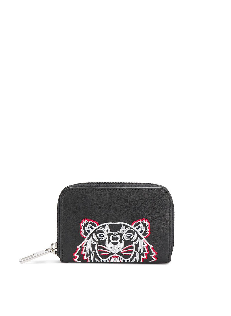 kenzo coloured tiger head zip coin pouch black white red ss 2020