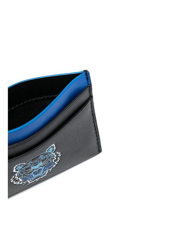 Leather Tiger Head Cardholder - Black
