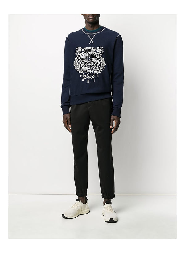 Shibori Tiger Crewneck Sweat - Midnight Blue