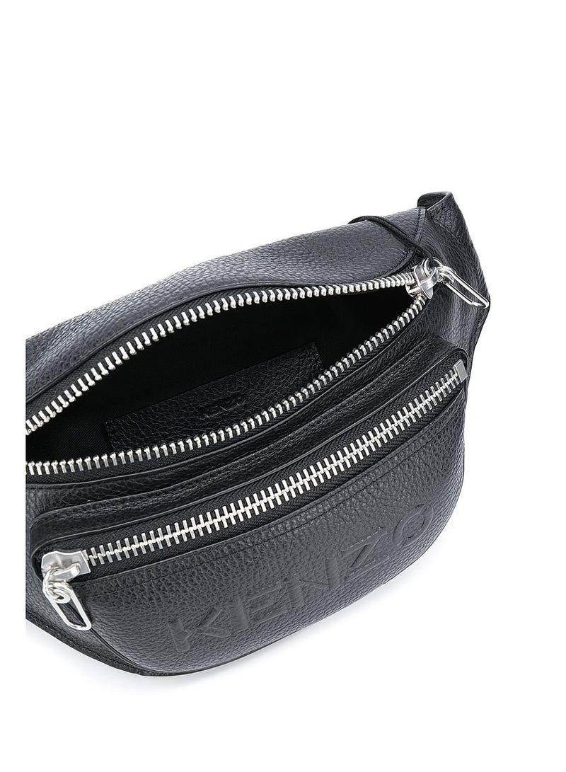 Textured Leather Bumbag - Black
