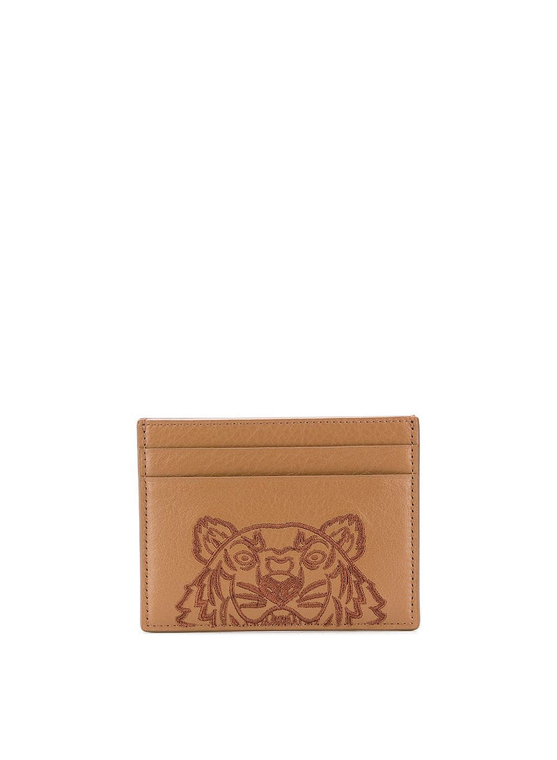 kenzo tiger head large cardholder brown aw 2020