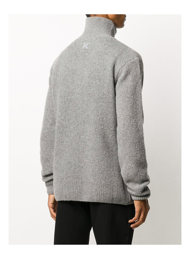 Wool Recycled Cashmere Turtle Neck Jumper - Grey