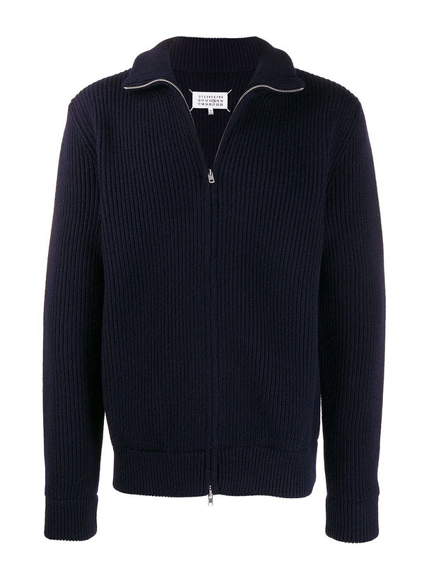 maison margiela 5 gauge zip through knit jumper navy ss 2020