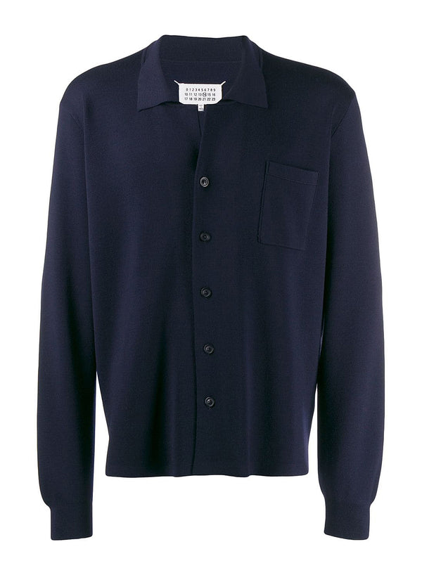 maison margiela button through knitted cardigan navy ss 2020