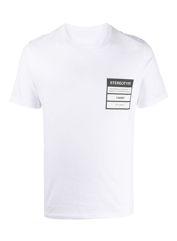 maison margiela stereotype jersey cotton tee white ss 2020