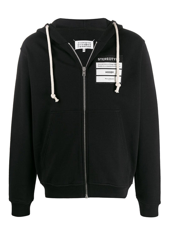 maison margiela stereotype zip through hooded sweatshirt black ss 2020