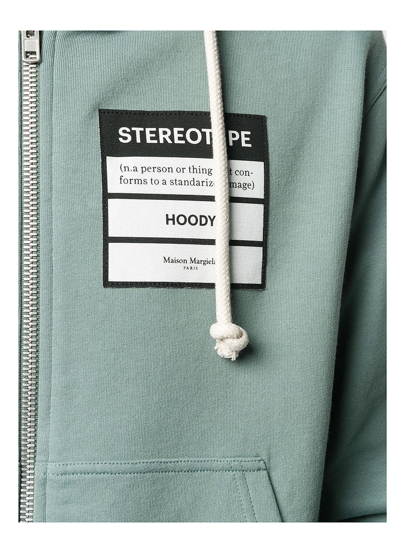 Stereotype Zip Through Hooded Sweatshirt - Slate Grey