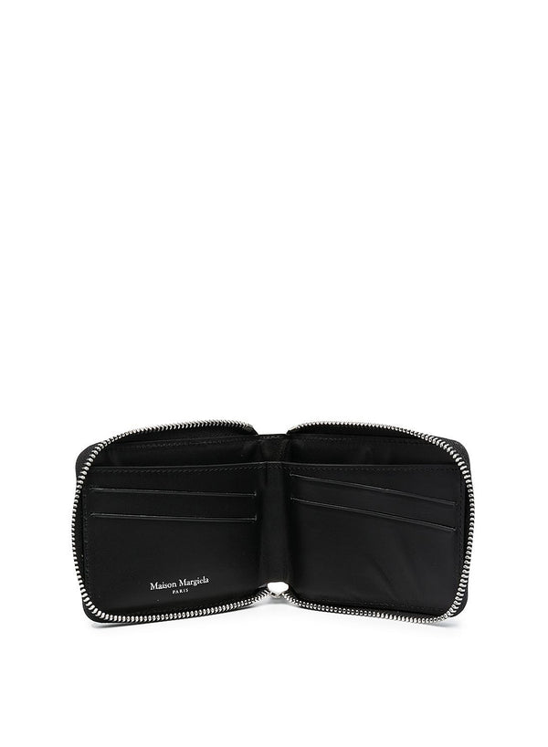 Calf Leather Zip Coin Pouch - Black