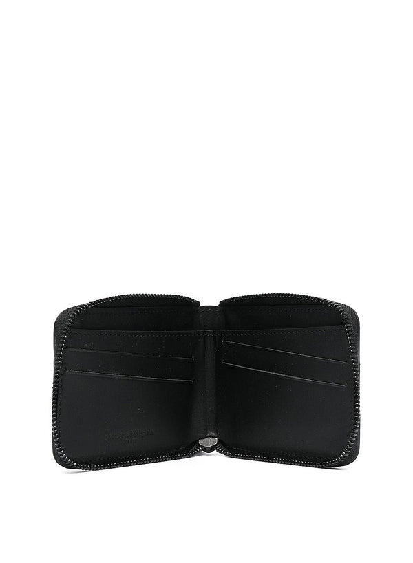 Deer Leather Zip Coin Pouch - Black