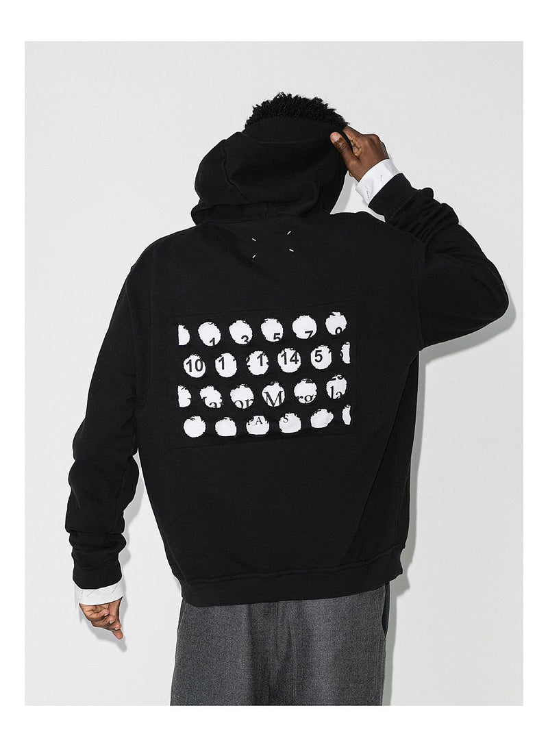 Diagonal Stitch Holes Hoody - Black