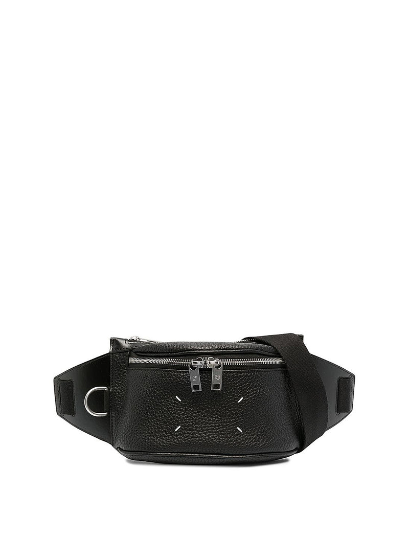 maison margiela leather zip cross body bag black ss 2021