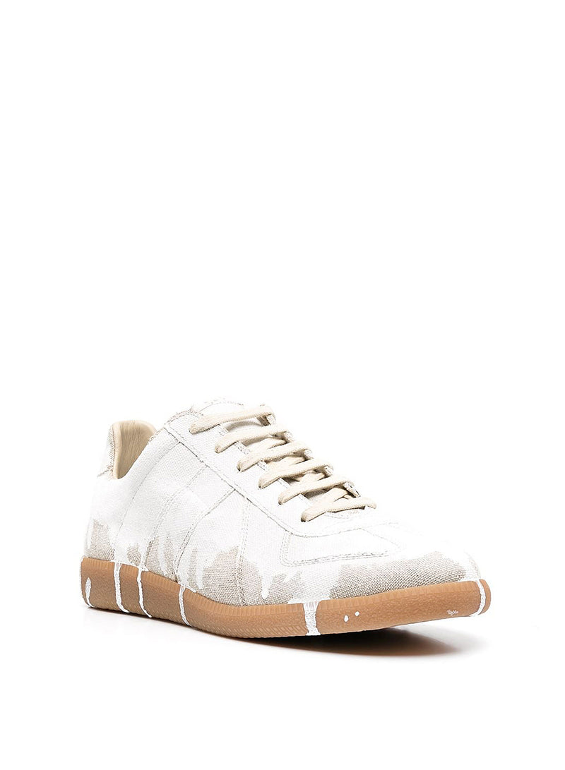 Painted Replica Low Top Trainer - Natural/White mat