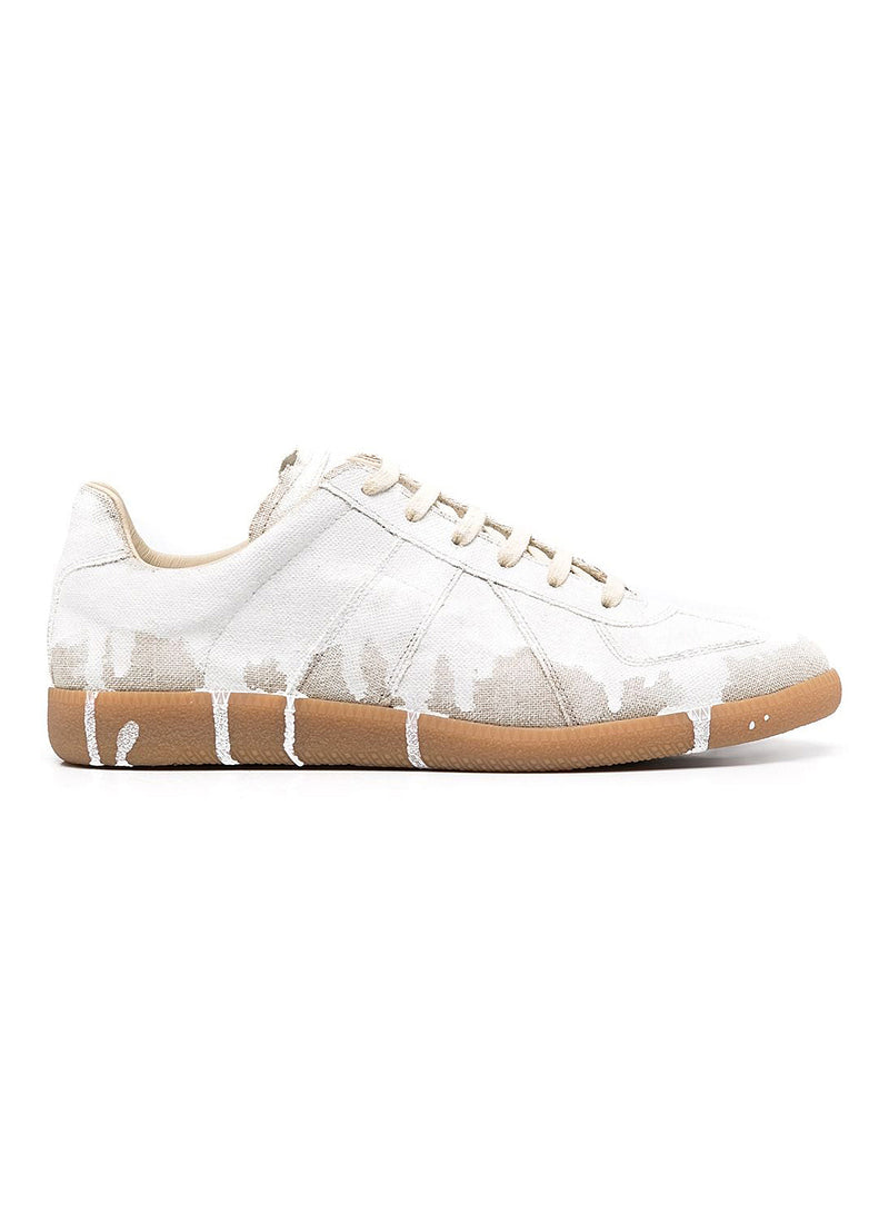 maison margiela painted replica low top trainer natural white mat ss 2021