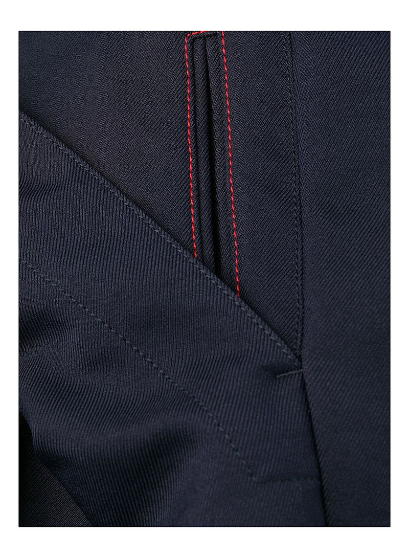 Polyester Twill Hem Detail Trouser - Dark Blue