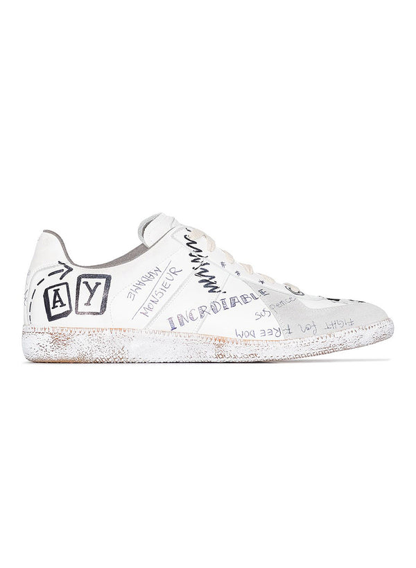 Suede Graffiti Replica Low Trainer - White