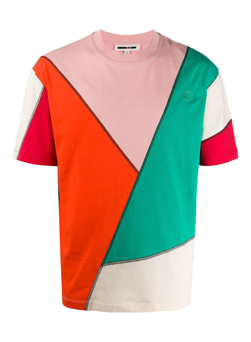 mcq by alexander mcqueen seamed big crew neck tee cameo pink red aw 2020