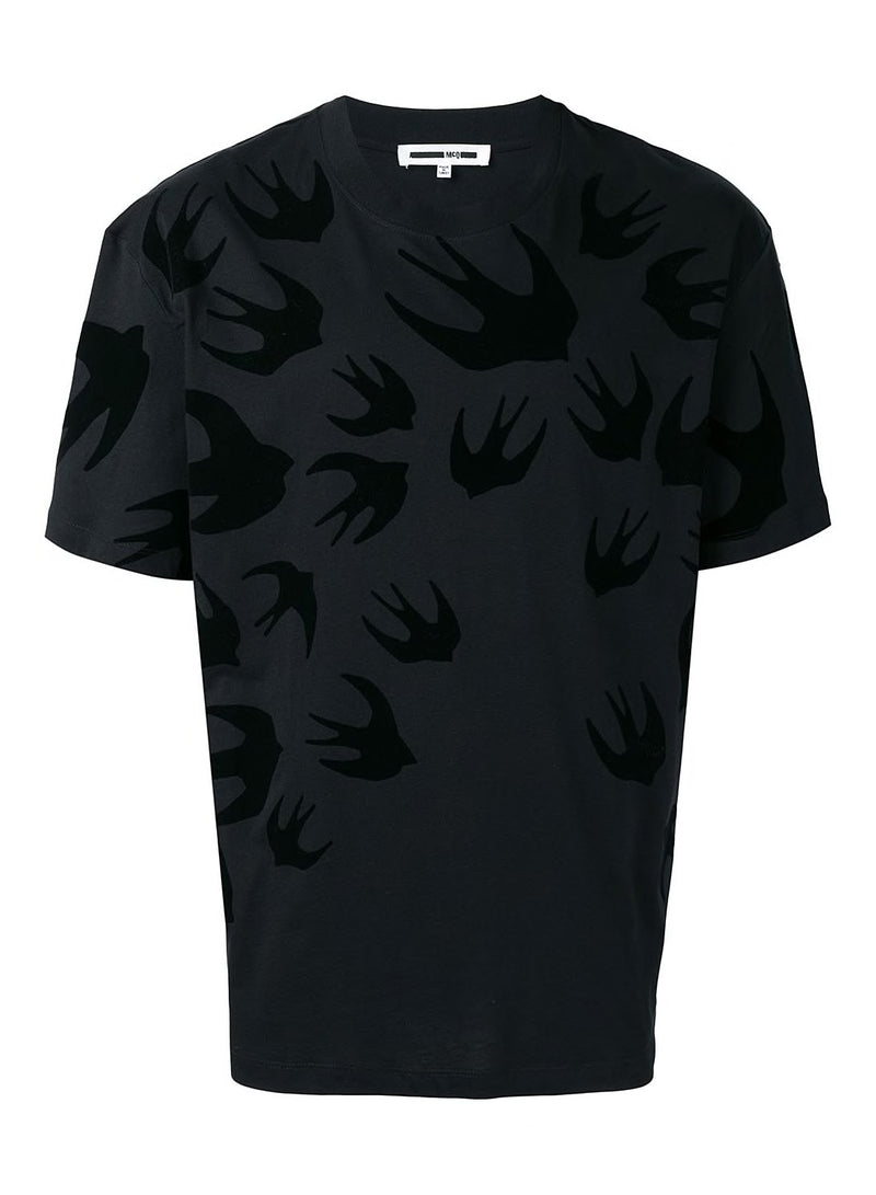 mcq by alexander mcqueen swallow dropped shoulder tee darkest black aw 2020