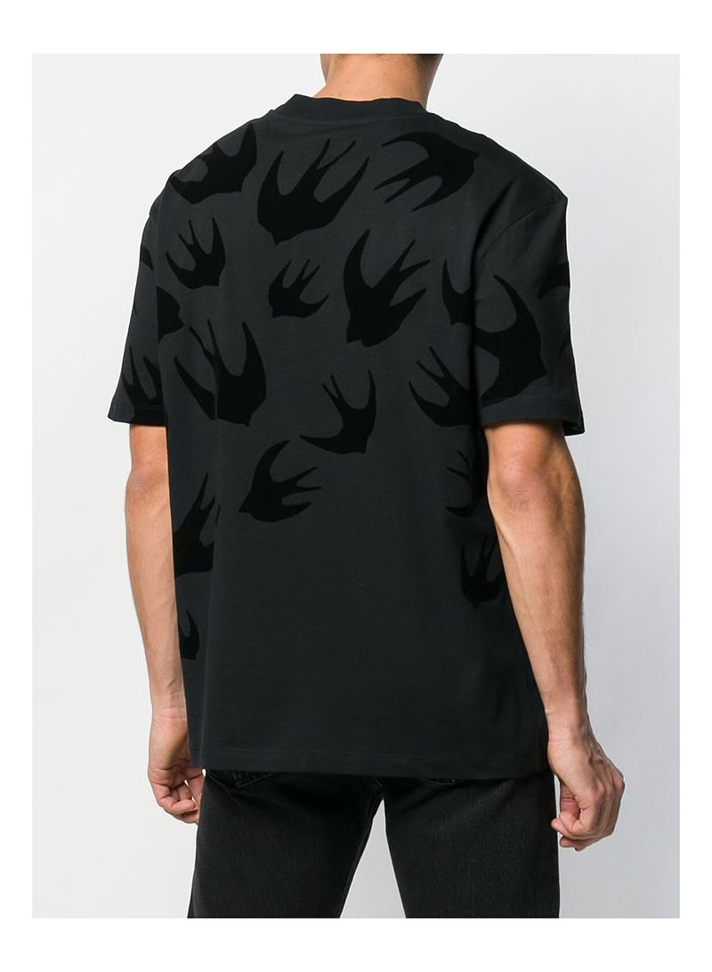 Swallow Dropped Shoulder Tee - Darkest Black