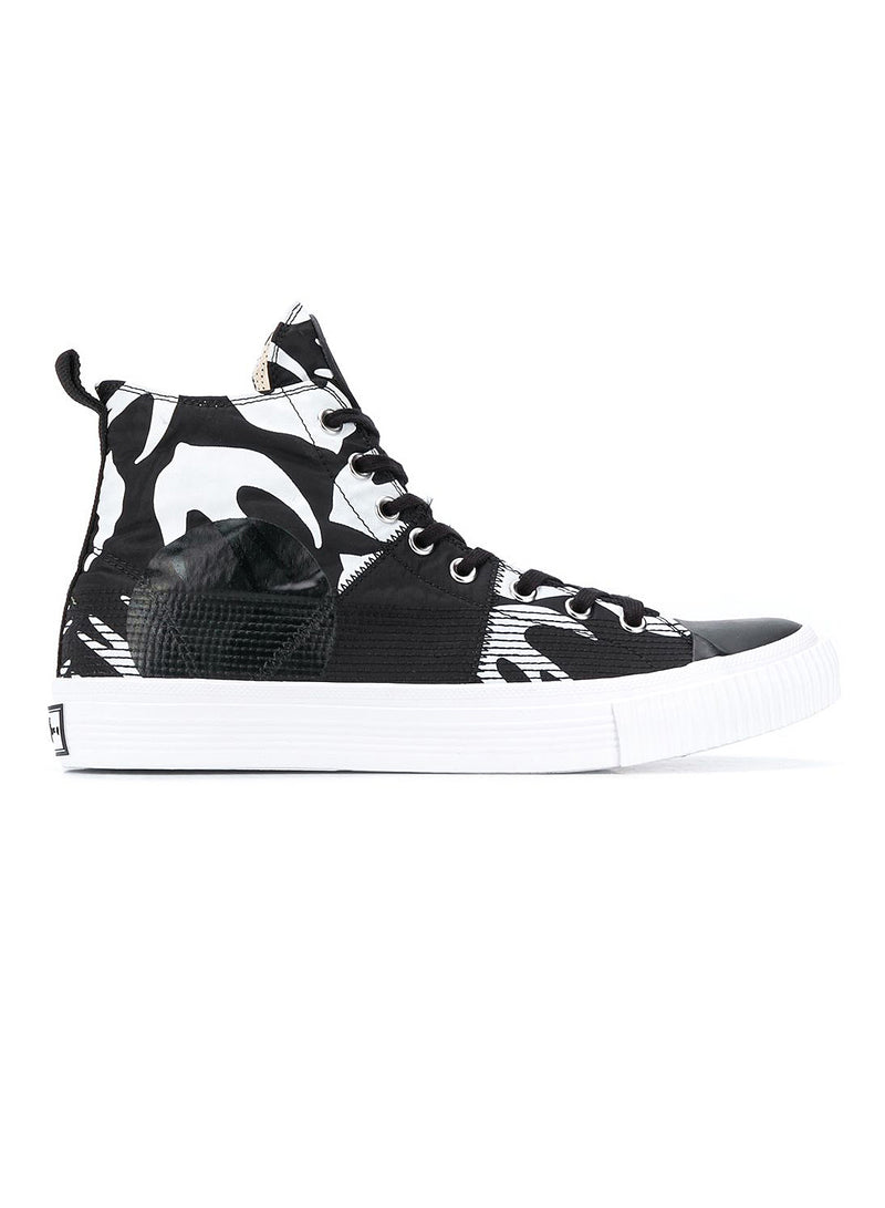 mcq by alexander mcqueen swallow hi cut up trainer black white aw 2020