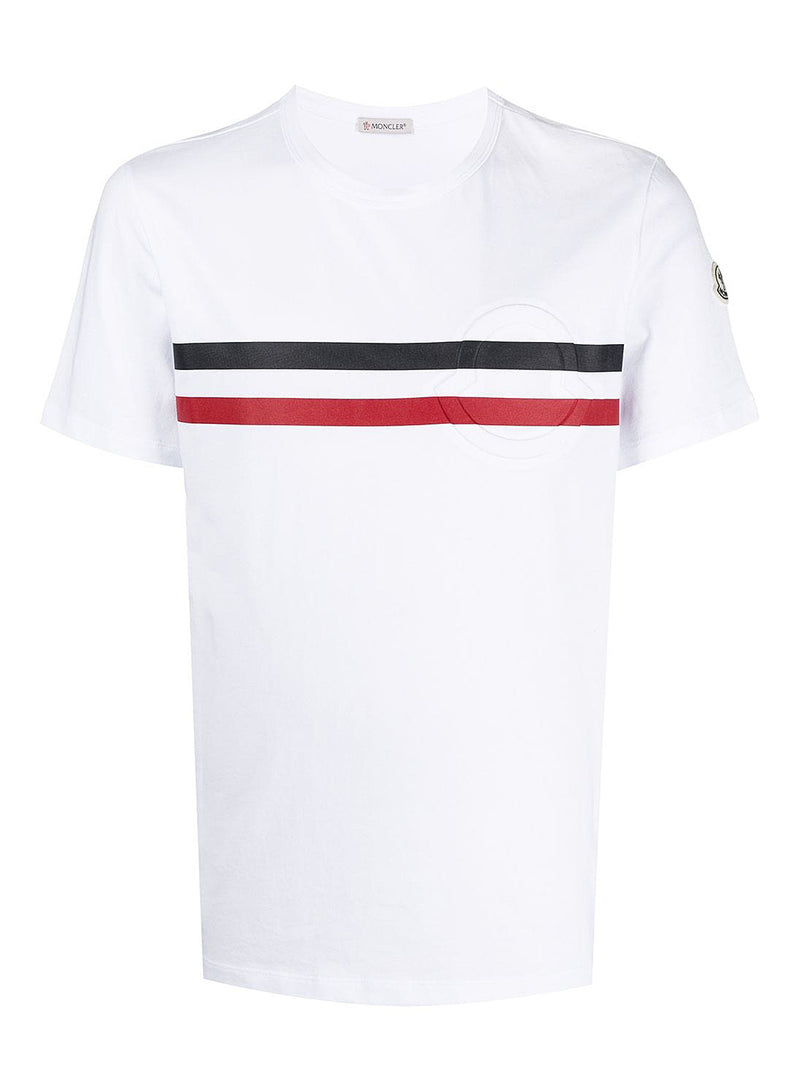 moncler chest stripe tee white ss 2021