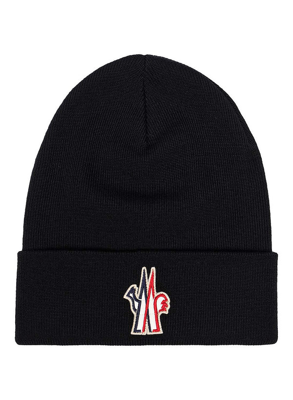 moncler grenoble badge beanie black aw 2020