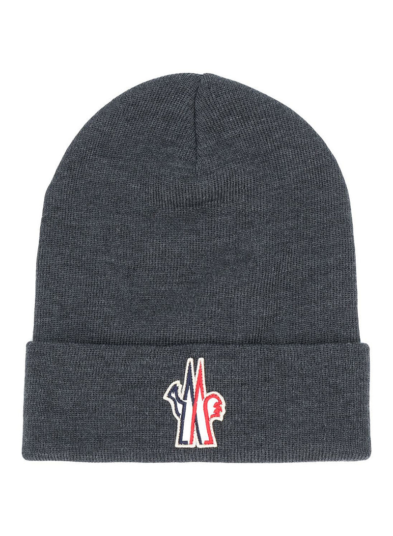 moncler grenoble badge beanie grey aw 2020