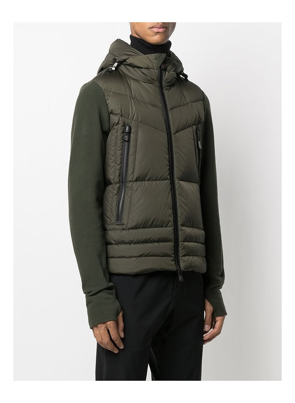 Hooded Fleece Down Jacket - Green