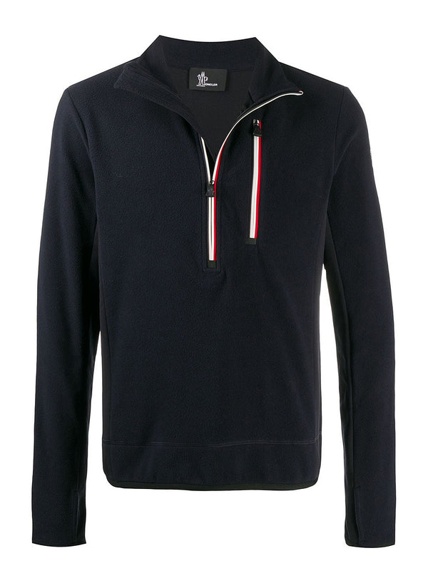 moncler grenoble maglia a lupetto con zip fleece navy aw 2020