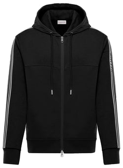 moncler striped sleeve hoody black ss 2020
