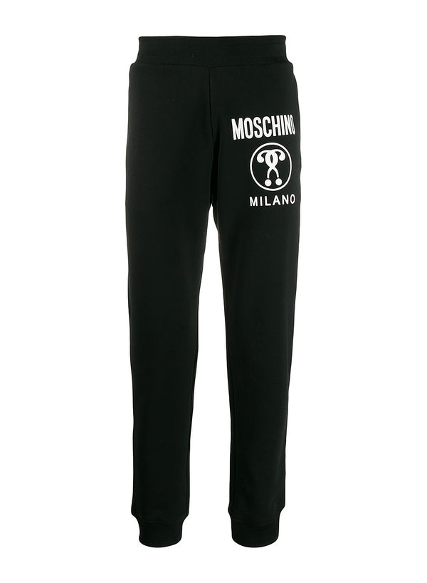 moschino cuffed question logo trackpants black ss 2020