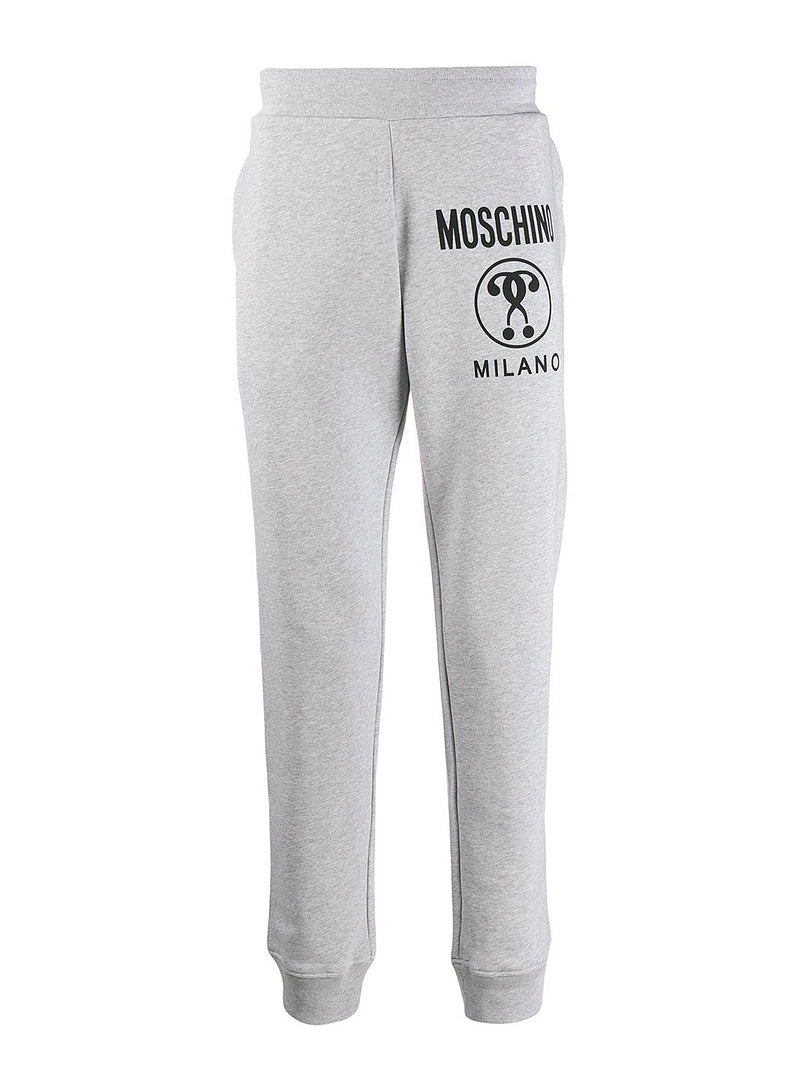 moschino cuffed question logo trackpants grey marl ss 2020
