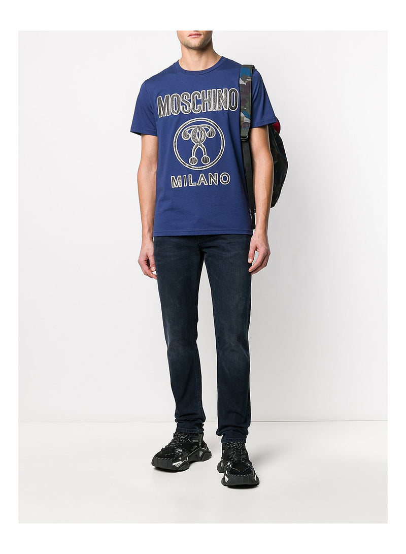 Embossed Large Question Mark Tee - Navy