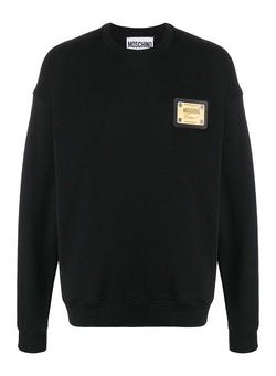 moschino metal plaque logo sweat black ss 2020