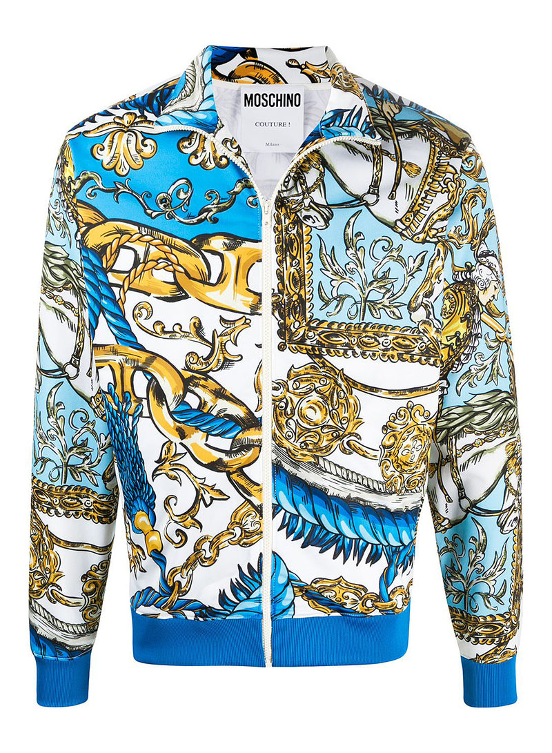 moschino allover chains print tracktop fantasy print blue aw 2020