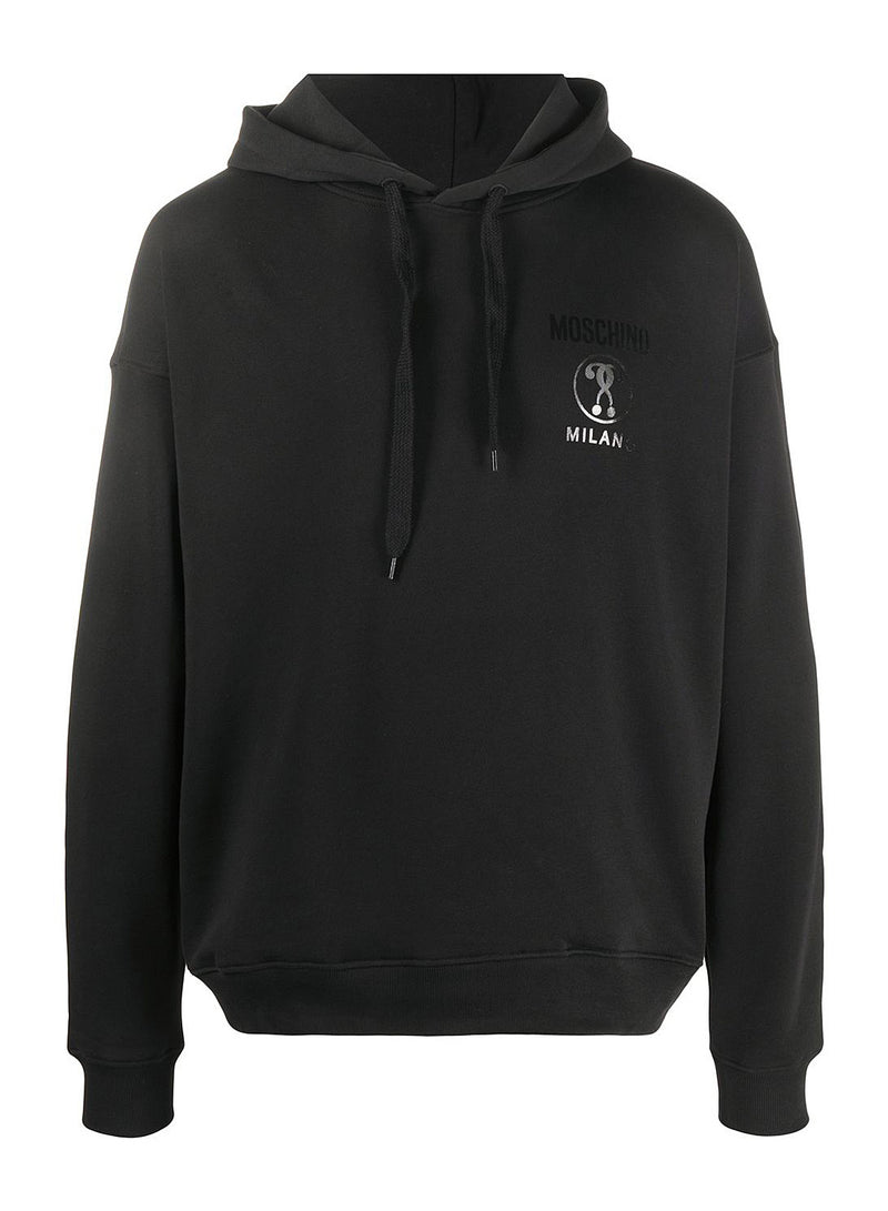 moschino double question mark logo hoodie black aw 2020