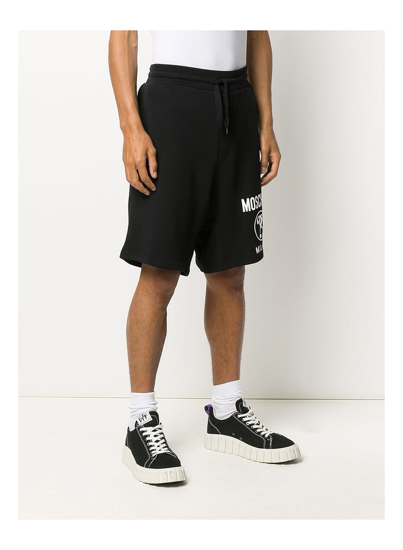 Double Question Mark Logo Shorts - Fantasy Print Black