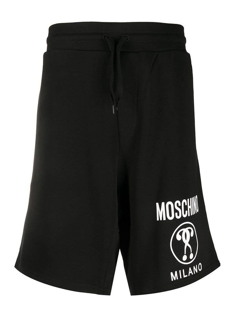 moschino double question mark logo shorts fantasy print black aw 2020