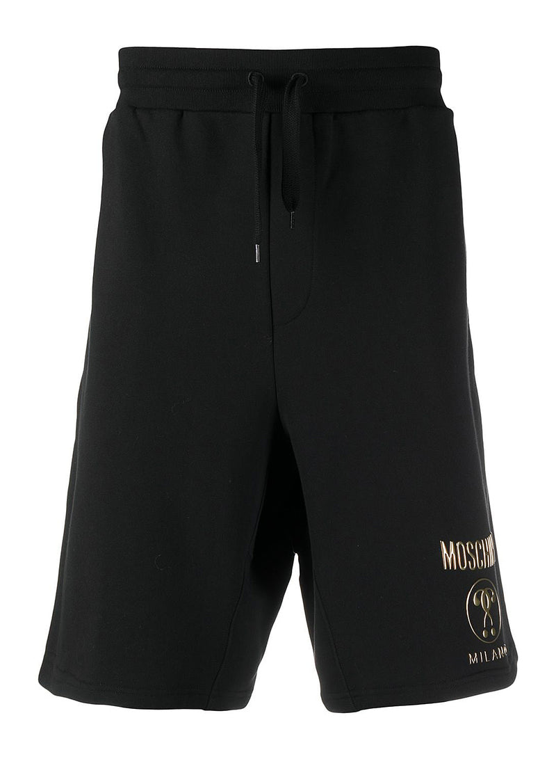 moschino gold question mark shorts black ss 2021