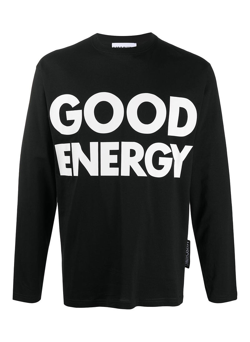 moschino good energy long sleeve tee fantasy print black aw 2020