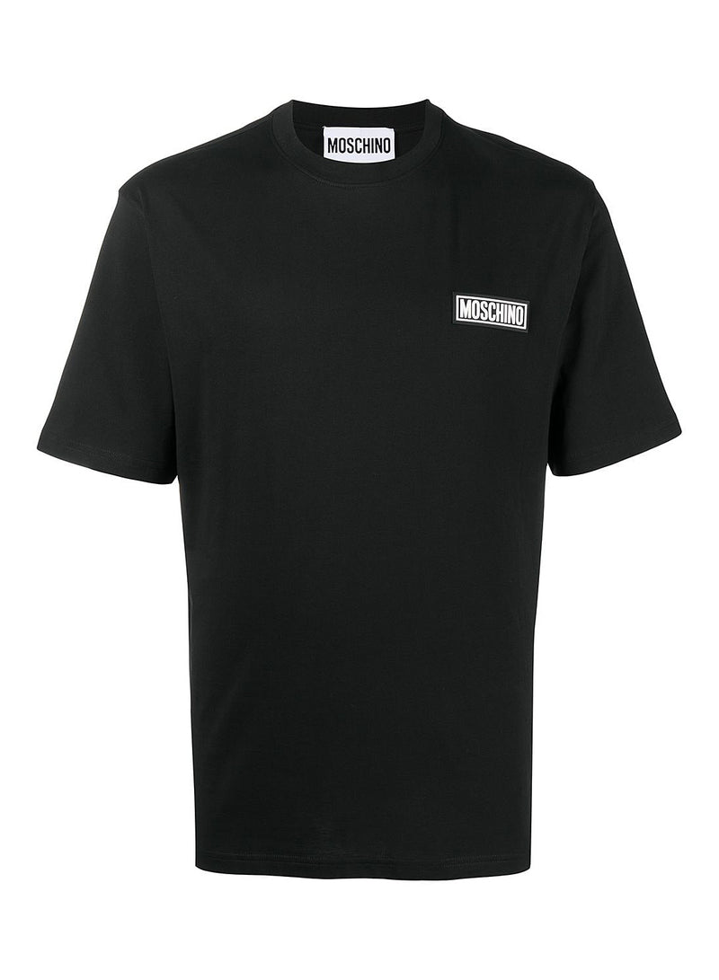 moschino rubber badge tee black ss 2021