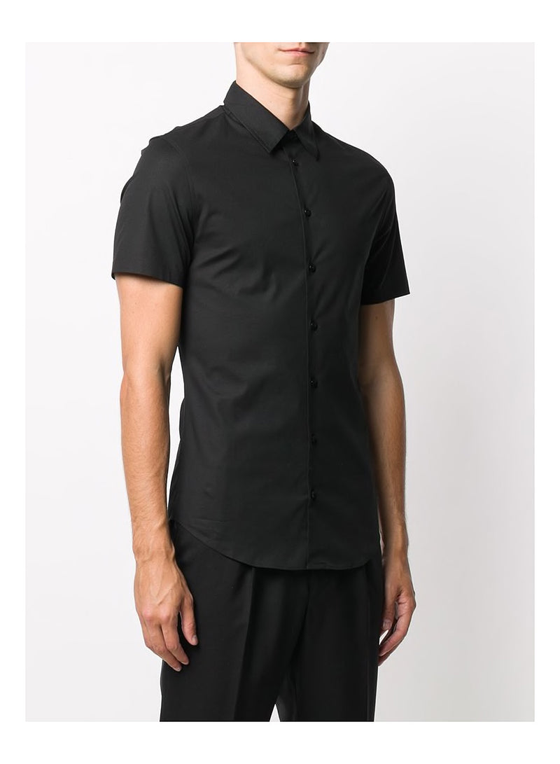 Short Sleeve Slim Fit  Shirt - Black