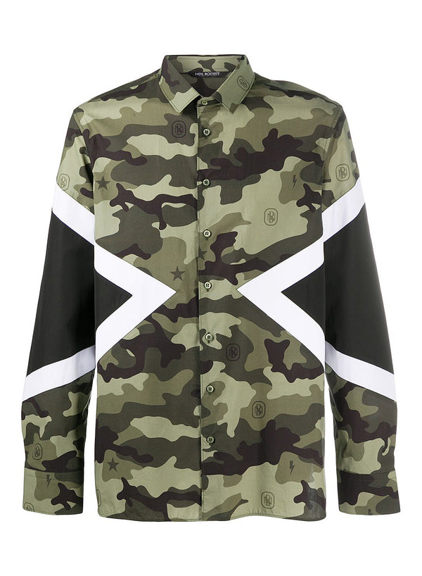 neil barrett modernist camo monogram shirt camo black white aw 2020