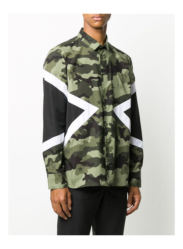 Modernist Camo Monogram Shirt - Camo/Black/White