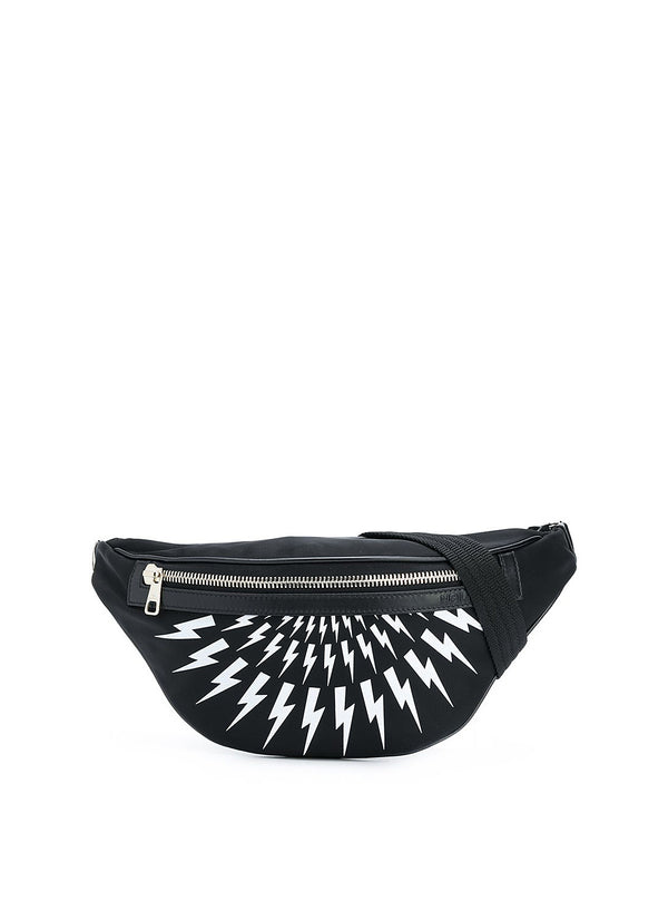 neil barrett nylon thunderbolt fairisle belt bag black white aw 2020