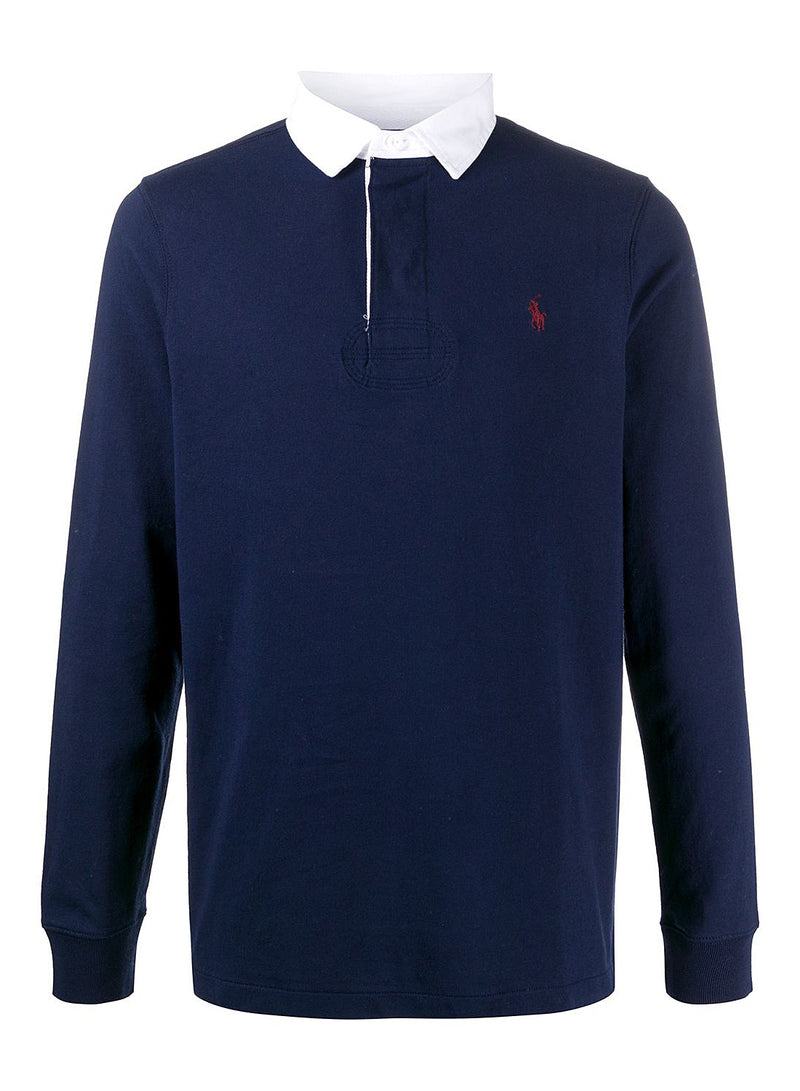 ralph lauren polo contrast collar long sleeve polo shirt navy ss 2021